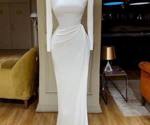 prom dress, white dress, and mermaid prom dress image