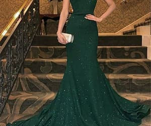 prom dress, mermaid dress, and dark green dress image