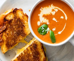 food, soup, and grilled cheese image