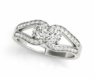 two stone ring, 2 stone ring, and diamond ring image