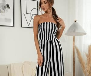 strapless, stripe, and black and white image