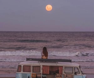beach, moon, and fashion image