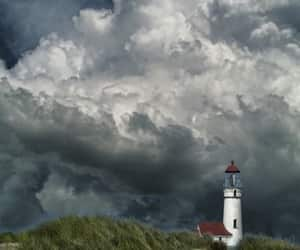 lighthouse, nature, and sky image