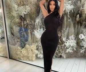 black dress, kim kardashian, and long hair image