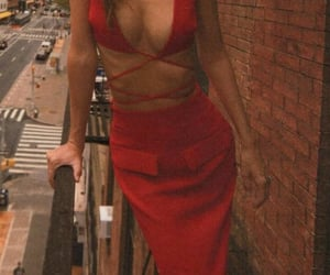 balcony, fashion, and red dress image