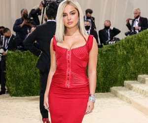 celebrities, gown, and red dress image