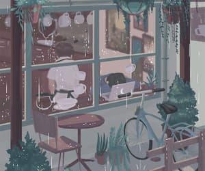 animation, rainy day, and cafe image
