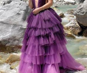 evening dress, girl, and formal dress image