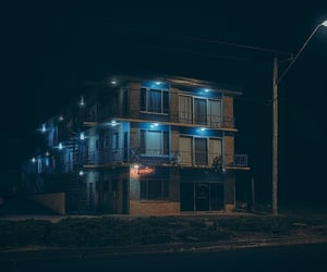 building, night, and street photography image