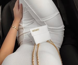 bag, outfit, and white outfit image