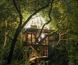 fairy tale, tree house, and romantic atmosphere image