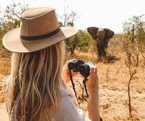 elephant, girl, and safari image