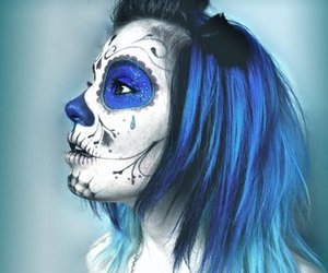 blue hair, dyed hair, and day of the dead image
