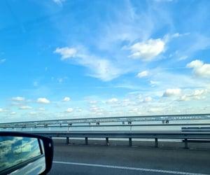 blue, road, and bridge image