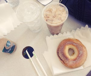 bagel, iced coffee, and morning image