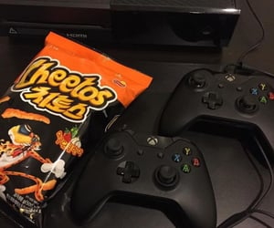 chips, black, and snack image