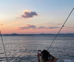 boat, life, and sunset image