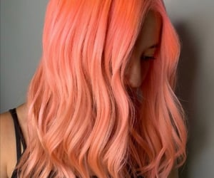 pink hair, peach hair, and orange hair image