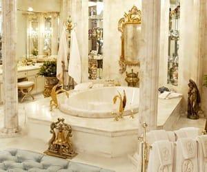 luxury, bathroom, and gold image