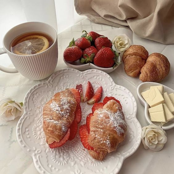 croissant, delicious, and drink image