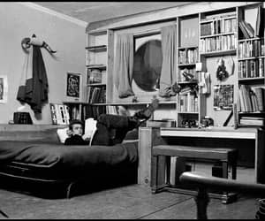 bedroom, black and white, and books image
