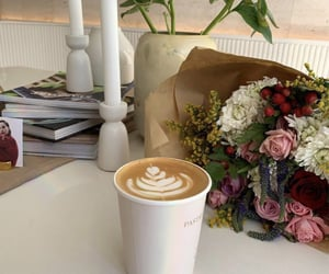 coffee, flowers, and girls image