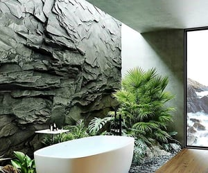 bathroom, privacy, and bathtub image