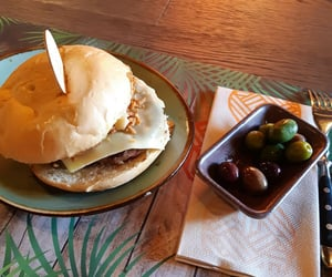 burger, cuisine, and olive image