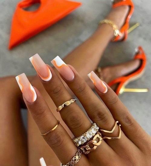 nails, orange, and aesthetic image