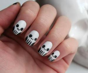 nails, skull, and nail art image