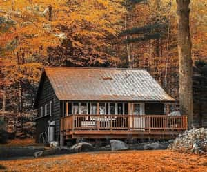 fall, autumn, and cabin image
