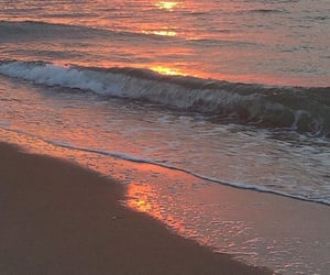aesthetic, sunset, and beach image