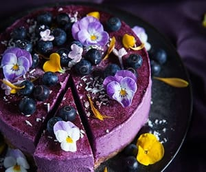 cheesecake and flowers image