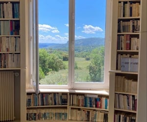 aesthetic, library, and nature image