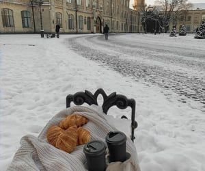 coffee, croissant, and winter image