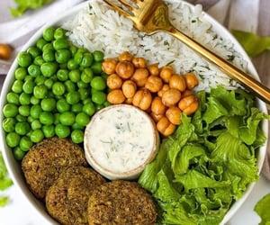 bowl, falafel, and peas image