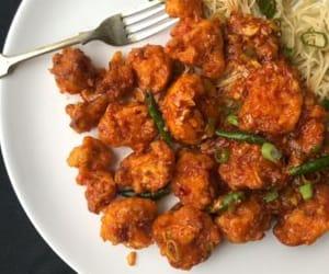 indian food, asian food, and gobi manchurian image