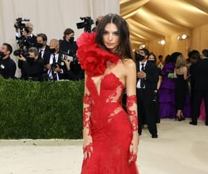 fashion blogger, red dress, and red gown image