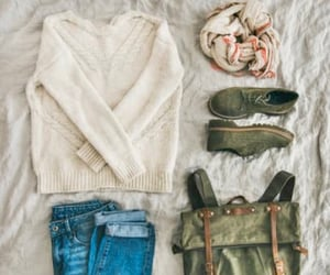 backpack, outfit, and scarf image