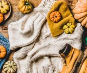 beanie, pumpkins, and fall image