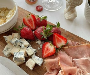 strawberry, cheese, and delicious image