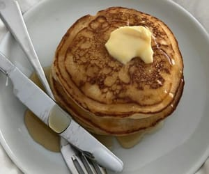 butter, pancakes, and syrup image