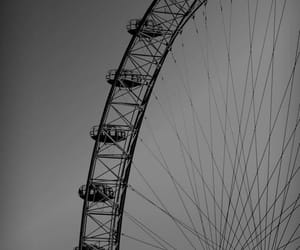 b&w, ferris wheel, and photography image