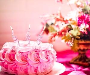 birthday, rosa, and pinkcake image