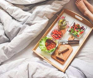 bed, food, and lunch image