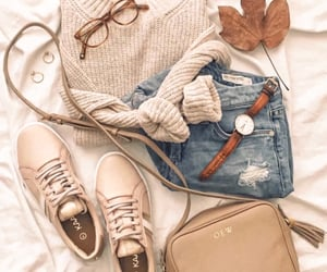 glasses, fall, and jeans image