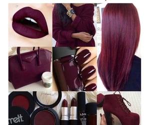 burgundy, nails, and starbucks image