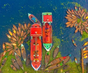 aerial photography, boats, and aerial view image