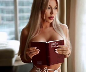 blonde, books, and brown image