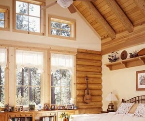 bedroom, loghome, and cabin image